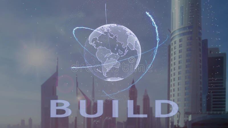 Текст строения с hologram 3d земли планеты против фона современной метрополии бесплатная иллюстрация