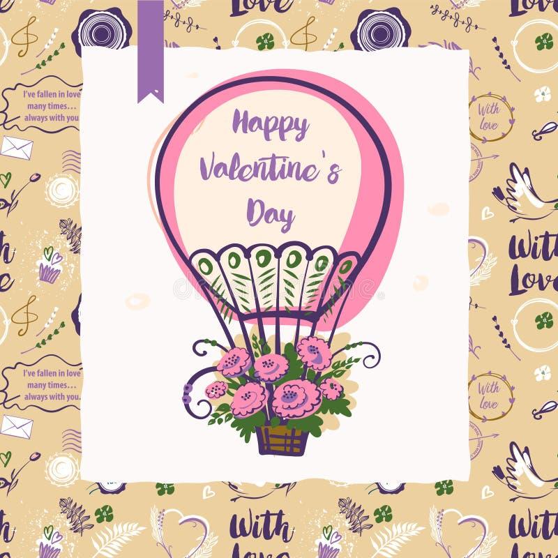 Текст с влюбленностью Стильная безшовная картина с воздушным шаром для партии бесплатная иллюстрация