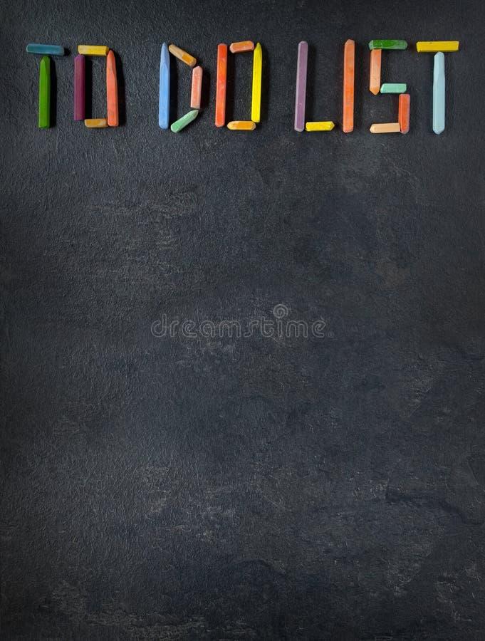 Текст & x22; Сделать List& x22; созданный с пастелями масла на шифере стоковое изображение