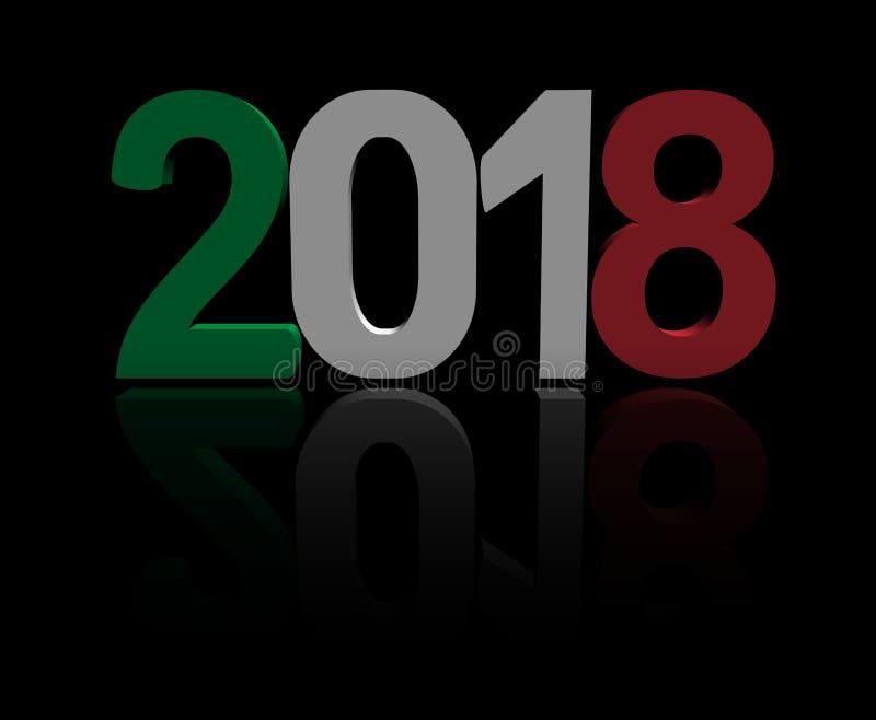текст 2018 с итальянской иллюстрацией флага 3d иллюстрация вектора