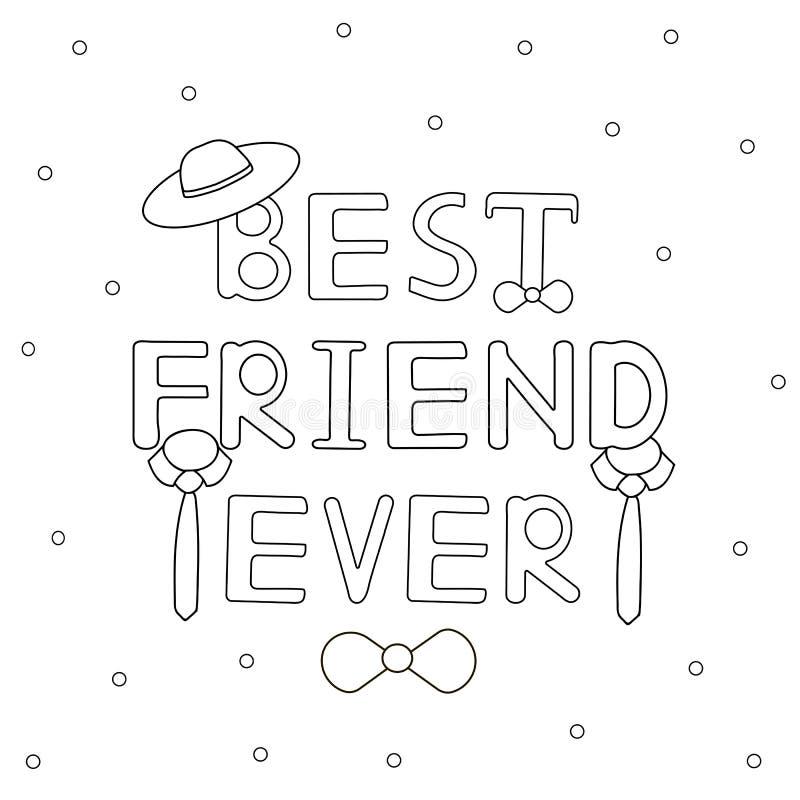 Текст лучшего друга вечно- нарисованный рукой с шляпой и связями Расцветка p бесплатная иллюстрация