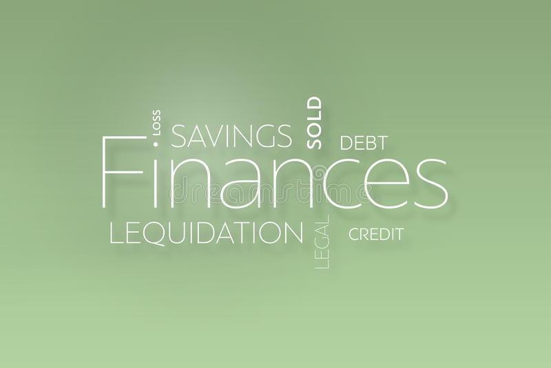 Текст финансов на зеленом цвете иллюстрация штока