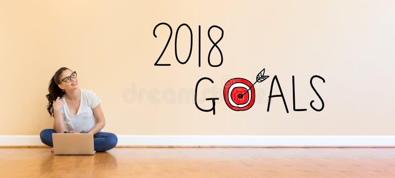Текст 2018 целей при молодая женщина используя портативный компьютер стоковое изображение