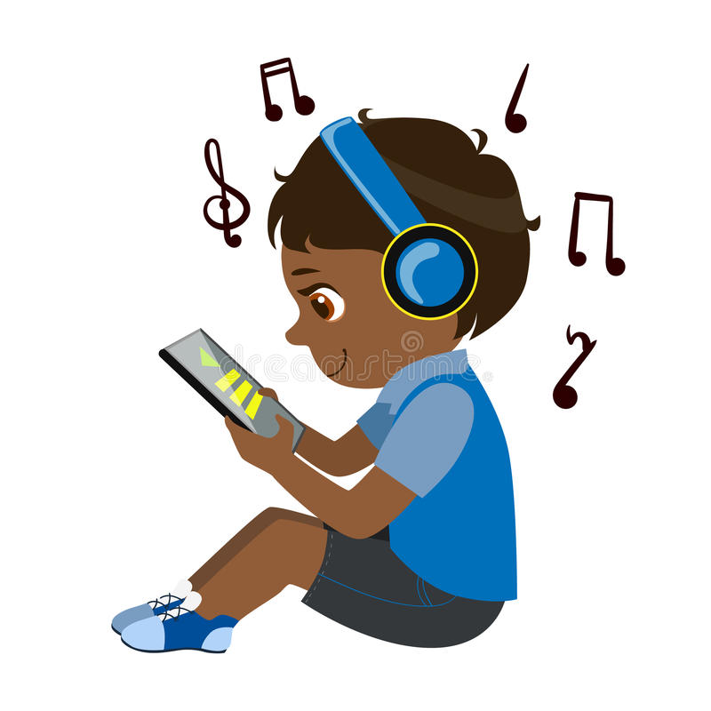 Текст чтения мальчика от таблетки и слушать к музыке через наушники, часть детей и современная серия устройств вектора иллюстрация штока