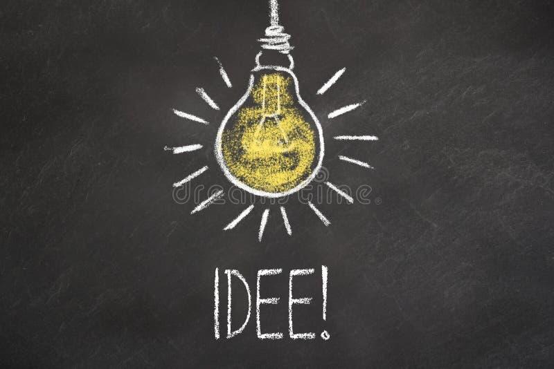 """Текст """"Idee """"мела и лампочка на доске Перевод: """"Идея """" иллюстрация вектора"""