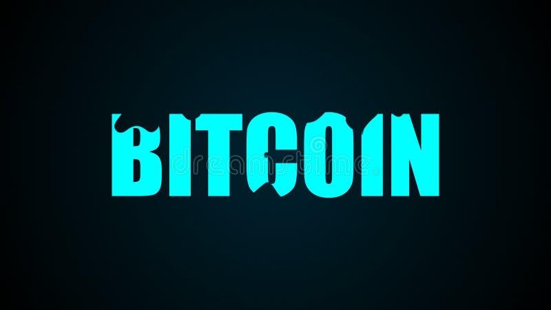 Текст Bitcoin абстрактная предпосылка Перевод цифров 3d иллюстрация вектора