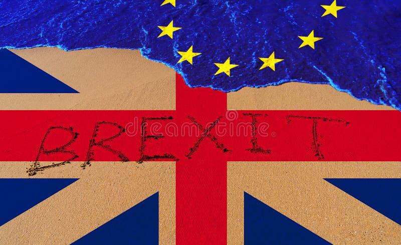 Текст Brexit Handwrite на береговой линии песка бесплатная иллюстрация