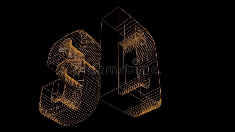 текст 3d представляет wireframe иллюстрация вектора