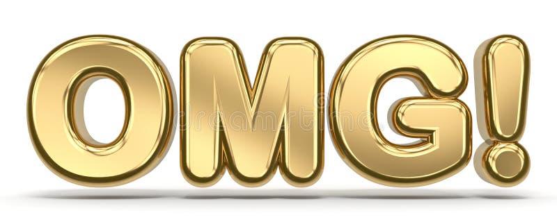 Текст 3D OMG золотой иллюстрация вектора