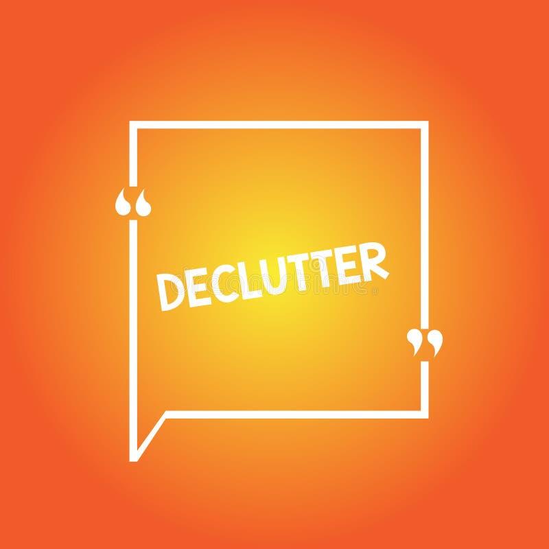 Текст Declutter почерка Значить концепции извлекает ненужные детали из untidy или переполненного плана границы квадрата пробела м иллюстрация штока