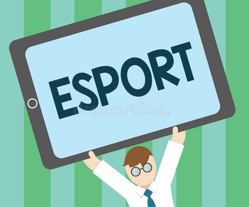 Текст Esport сочинительства слова Концепция дела для предназначенной для многих игроков видеоигры сыграла конкурсно для зрителей  иллюстрация вектора