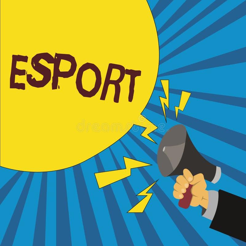 Текст Esport сочинительства слова Концепция дела для предназначенной для многих игроков видеоигры сыграла конкурсно для зрителей  иллюстрация штока