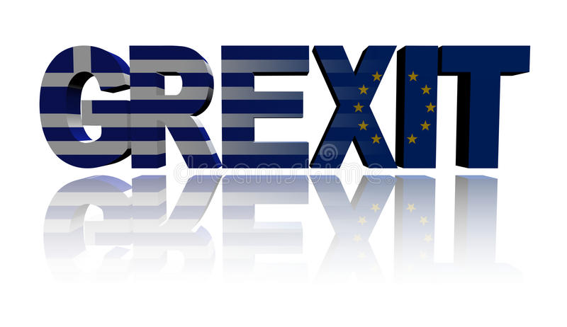 Текст Grexit с флагами грека и Eu иллюстрация вектора
