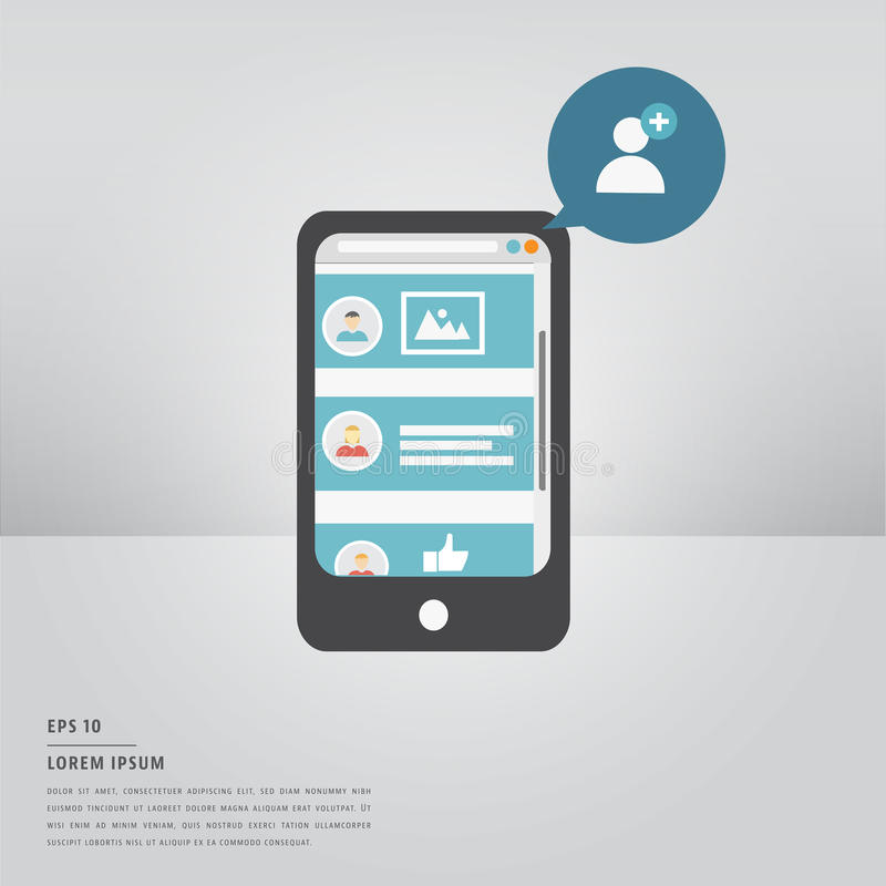 Текст ipsum Lorem и умный телефон с добавляют значок потребителя иллюстрация штока