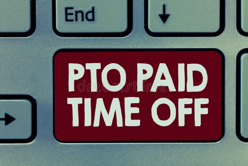 Текст Pto почерка оплаченный время  Работодатель смысла концепции дарует компенсацию на личные праздники разрешения иллюстрация вектора
