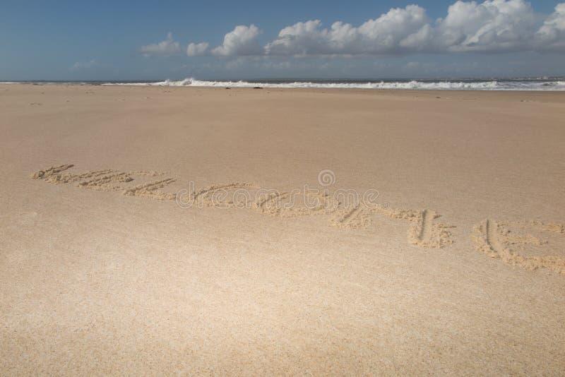 Текст & x22; welcome& x22; на песке пляжа с океанскими волнами на предпосылке стоковое изображение rf