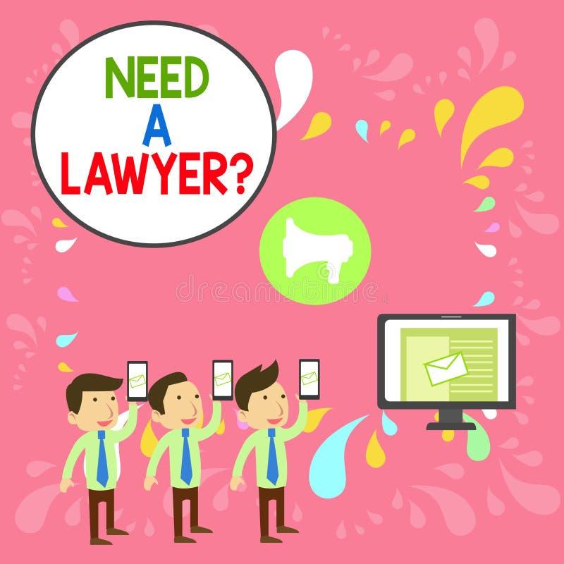 Текст Word Требуется Вопрос Юриста Бизнес-концепция для решения правовых проблем Поиск помощи у юриста SMS Email Marketing бесплатная иллюстрация