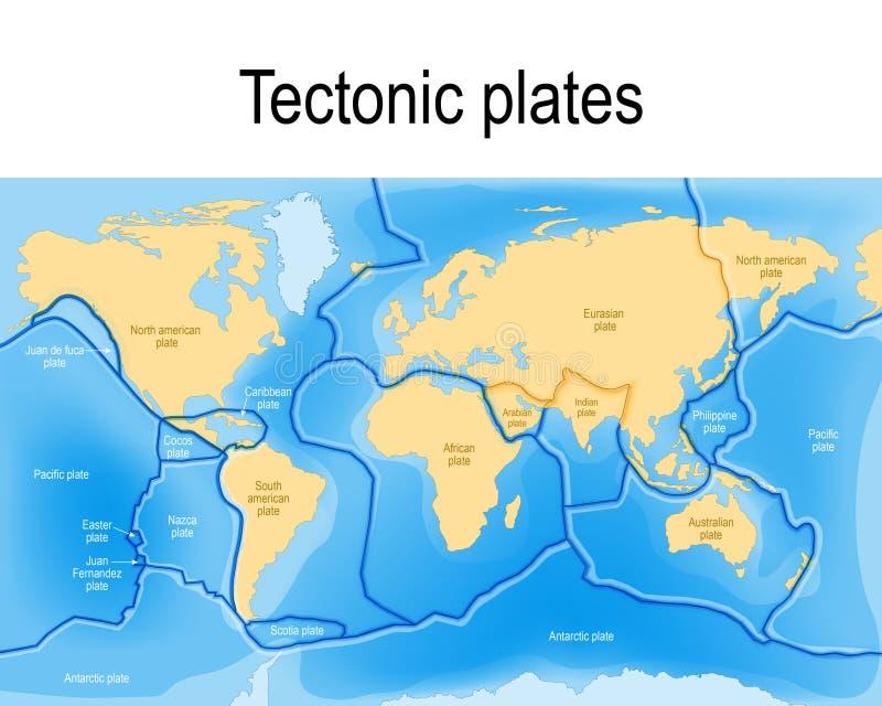 Тектонические плиты карта иллюстрация штока