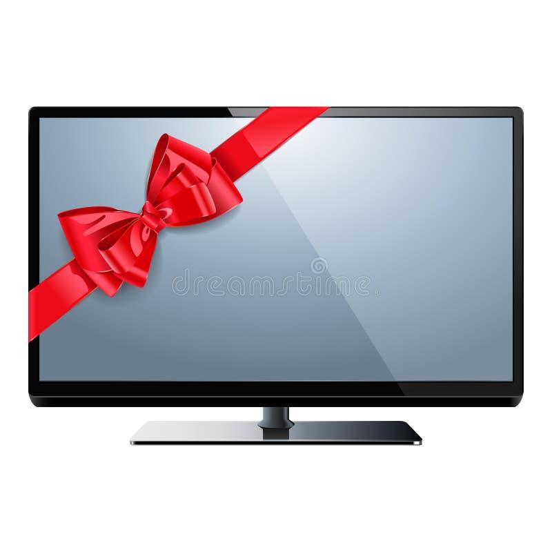 Телевидение вектора с красным смычком иллюстрация штока