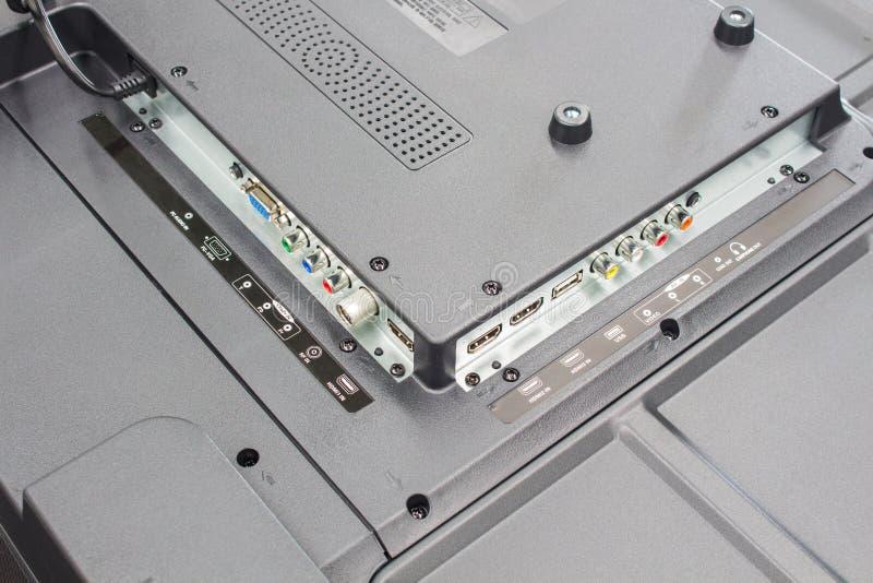 Телевидение высокой четкости input панель, соединители входного сигнала телевидения стоковые фото