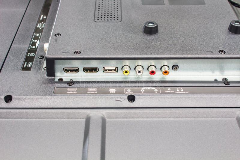 Телевидение высокой четкости input панель, соединители входного сигнала телевидения стоковая фотография