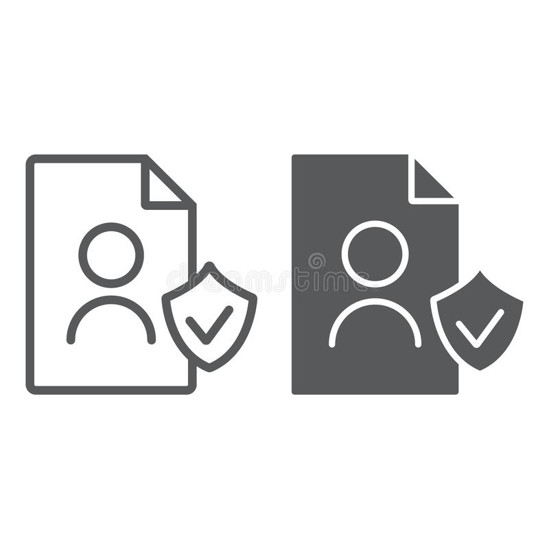 Телевизионная строка с данными телетекста personall Gdpr и значок глифа, частный и gdpr, знак документа, векторные графики, линей иллюстрация штока