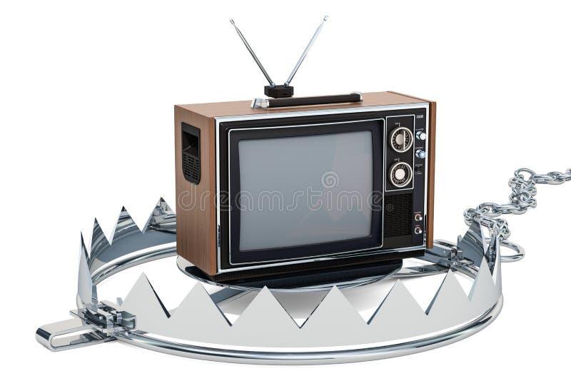Телевизор внутри ловушки медведя Концепция зависимости ТВ, перевод 3D иллюстрация штока