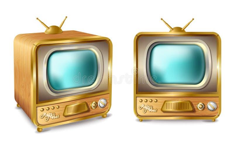 Телевизор шаржа вектора ретро винтажный с антенной бесплатная иллюстрация