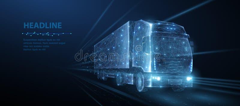 Тележка Абстрактный фургон грузовика вектора 3d тяжелый Дорога шоссе Изолированный на сини иллюстрация вектора