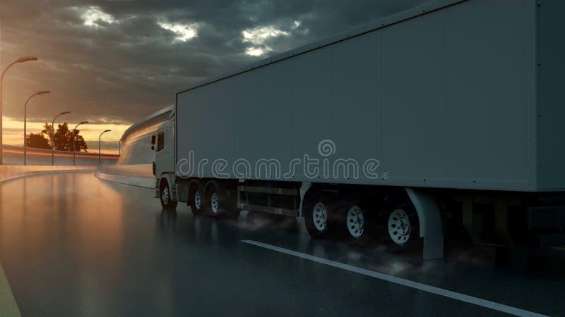 Тележка быстро проходя на шоссе, взгляд со стороны Транспорт, концепция судоходства : иллюстрация вектора