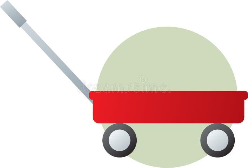 тележка вытягивая красную фуру игрушки иллюстрация вектора