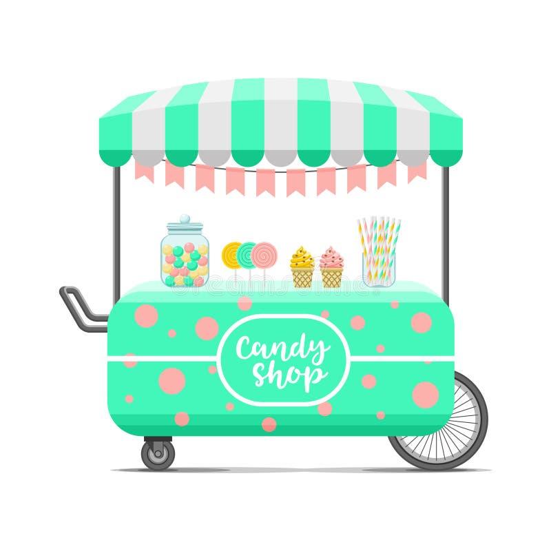 Тележка еды улицы магазина конфеты Красочное изображение вектора бесплатная иллюстрация
