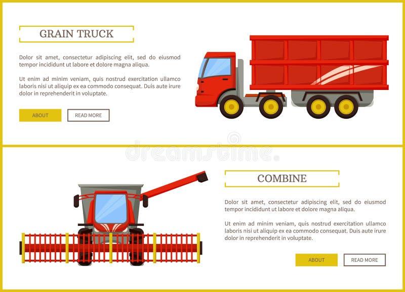 Тележка зерна и иллюстрация вектора комбайна установленная иллюстрация вектора