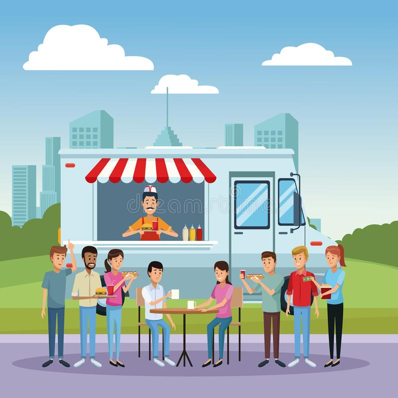 Тележка и клиенты еды иллюстрация вектора