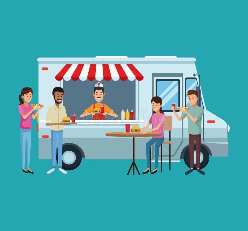 Тележка и клиенты еды иллюстрация штока