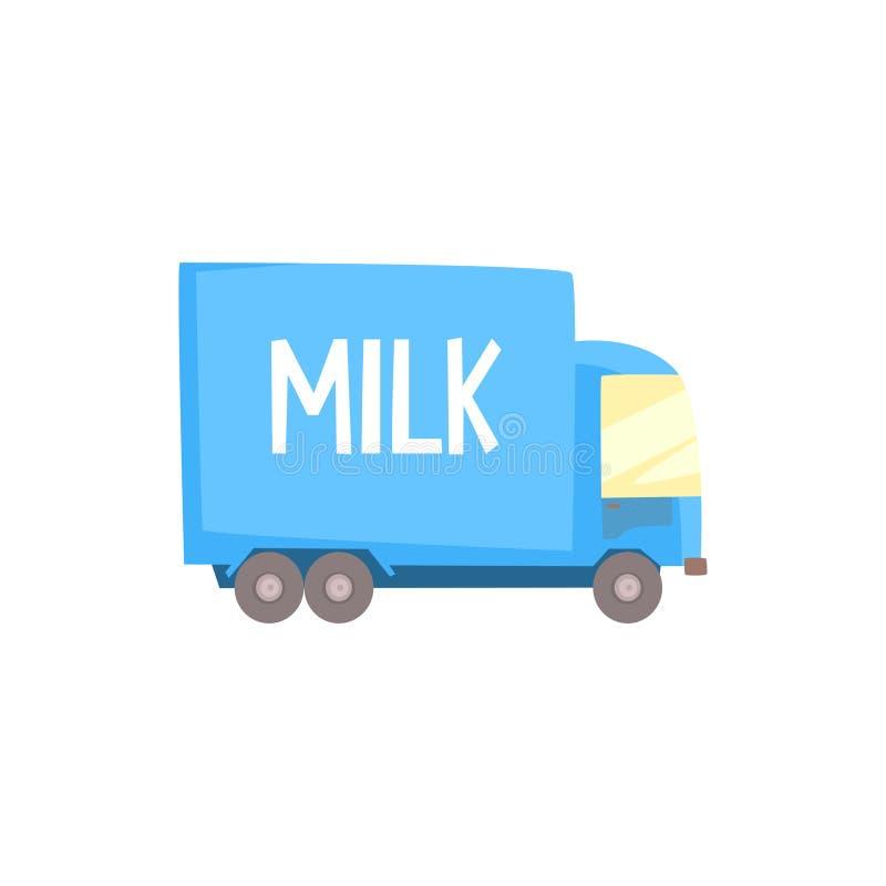 Тележка молока молокозавода с логотипом молока, поставка и транспорт шаржа молока vector иллюстрация бесплатная иллюстрация