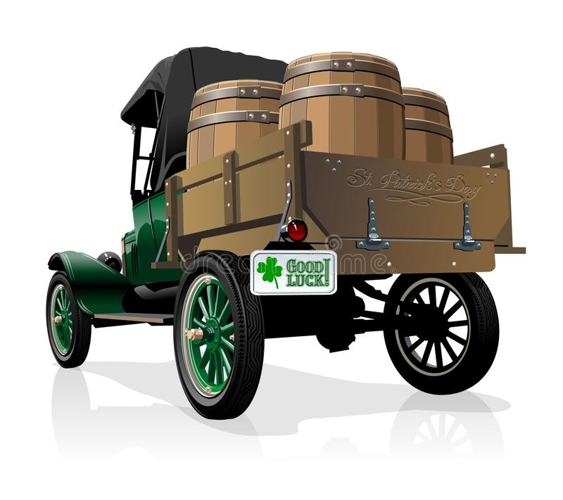 Тележка пива ` s St. Patrick вектора винтажная иллюстрация штока