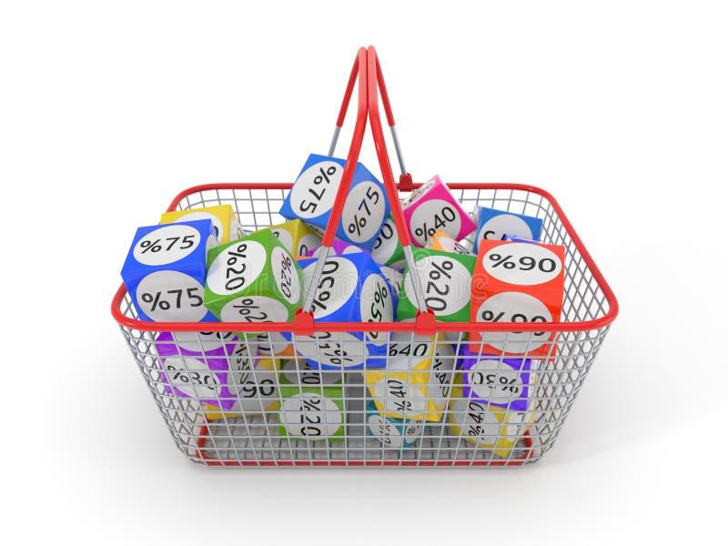 Тележка простых покупок cartshopping вполне кубов скидки иллюстрация 3d бесплатная иллюстрация