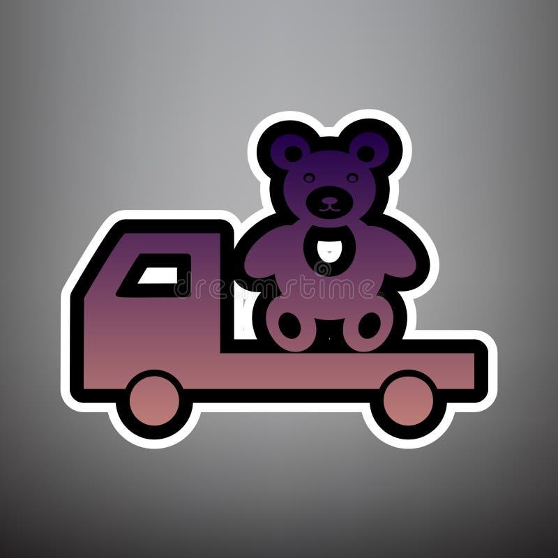 Тележка с медведем вектор Фиолетовый значок градиента с чернотой и whi бесплатная иллюстрация