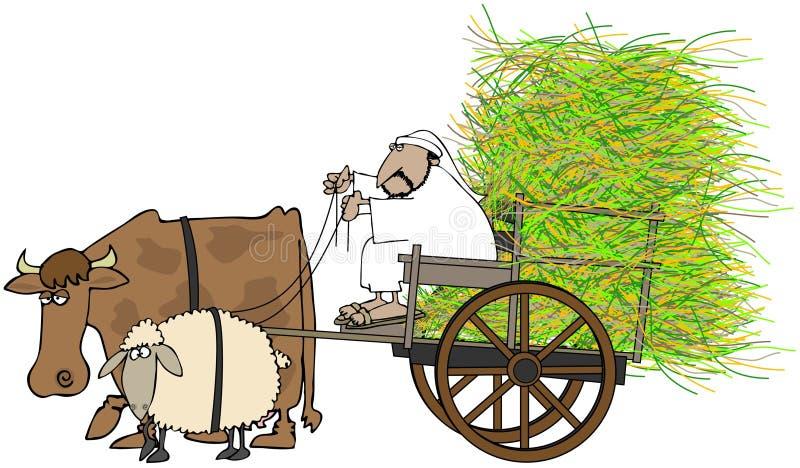 тележка управляя человеком сена иллюстрация вектора