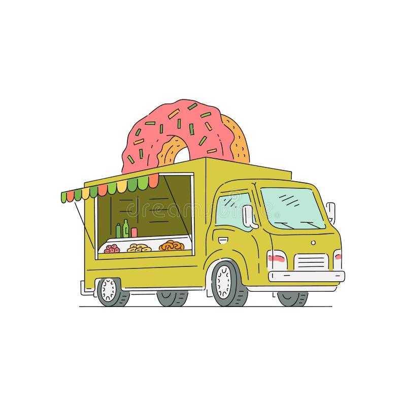 Тележка фаст-фуда улицы с донутом и помадками иллюстрация штока