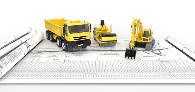 Тележки для строительства дорог иллюстрация вектора