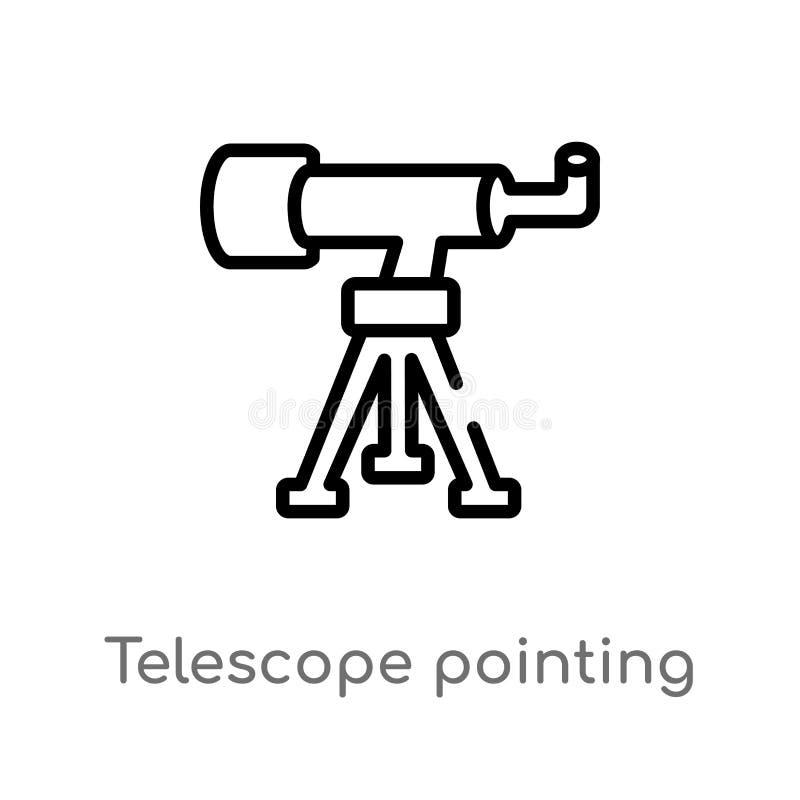 телескоп плана указывая вверх по значку вектора изолированная черная простая линия иллюстрация элемента от концепции астрономии E иллюстрация вектора