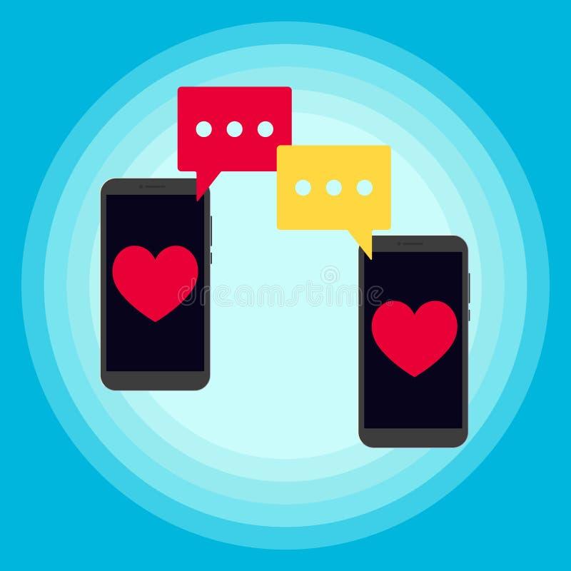 2 телефона беседуя уведомление сообщений sms хлопнутое над иллюстрацией вектора экрана иллюстрация вектора