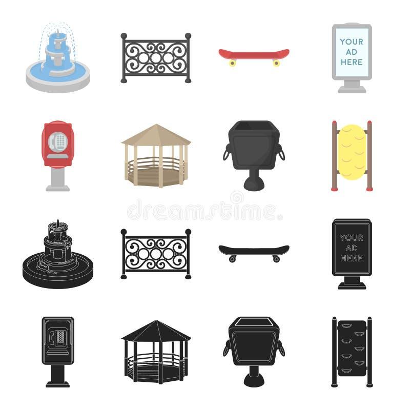 Телефонируйте автоматическое, газебо, мусорный ящик, стена для детей Значки собрания парка установленные в черноте, векторе стиля бесплатная иллюстрация