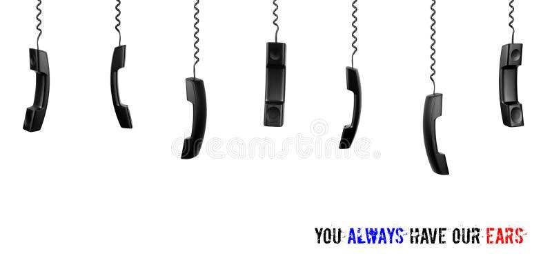 Телефонные трубки на белой предпосылке Стол или центр телефонного обслуживания обслуживания концепции стоковые изображения rf