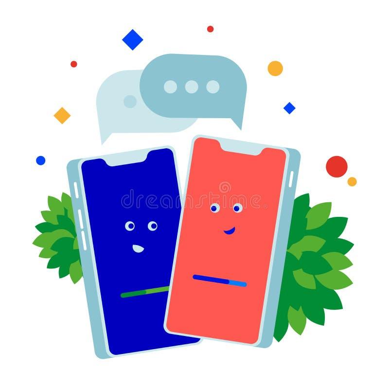 Телефонный разговор 2 телефона говоря друг к другу иллюстрация штока