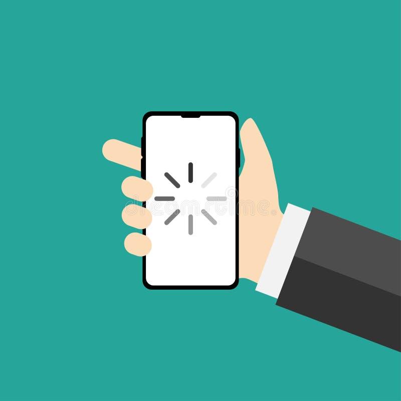 телефон в плоском дизайне показывая нагружая знак иллюстрация вектора