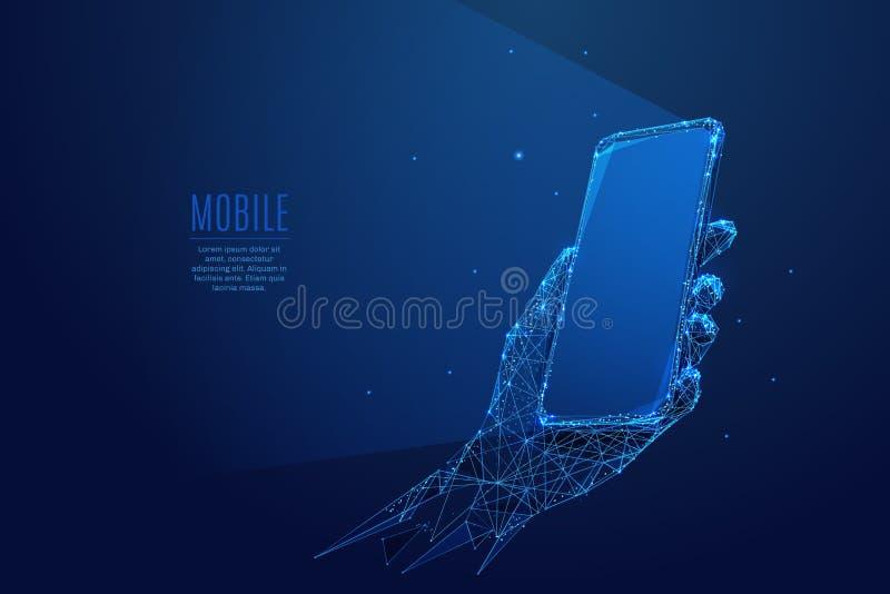 Телефон в сини руки низкой поли иллюстрация вектора