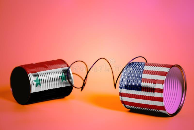 Телефон жестяной коробки с США и флагами Сирии черный телефон приемника принципиальной схемы связи стоковые изображения rf
